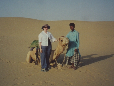 Jo with her camel, Michael Jackson