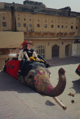 Jo on an elephant