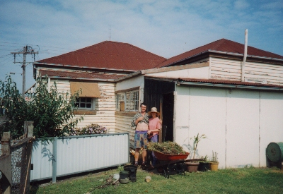 My brother Jon and his wife Simone outside their house in Newcastle, Australia