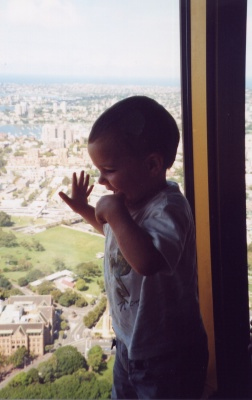 Fearless baby Adam views Sydney from the revolving restaurant