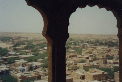 View from our room in the wall of the fort at Jaisalmer